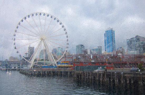Seattle waterfront rain