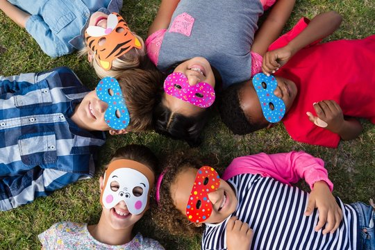 Directly above shot of children wearing masks