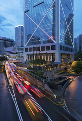 Car Traffic in central district of Hong Kong city at dusk