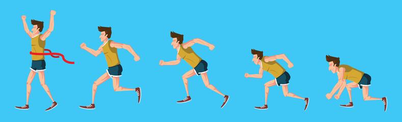 man step running on white background