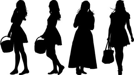 買い物に出る女性のシルエット