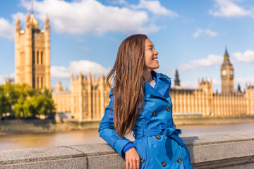 Europe city woman traveller lifestyle in London, UK. Asian mixed race girl happy in front of Big Ben, Westminster, Great Britain, living an urban modern life.