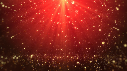 Christmas greeting background (red theme) with snowflakes, shine lights and particles bokeh in stylish and elegant theme.