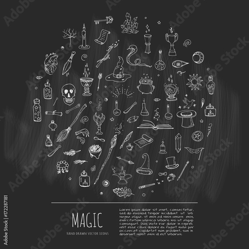Hand Drawn Doodle Magic Set Vector Illustration Wizardy Witchcraft