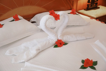 Towel swans and flowers on bed in hotel room