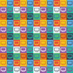 monitor vector icon seamless pattern