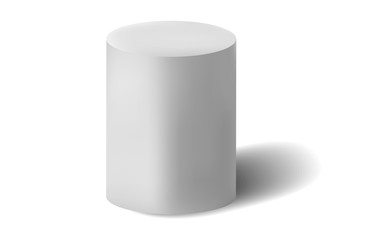 White cylinder isolated on white background