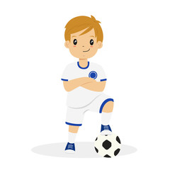 happy boy wearing white and blue soccer jersey, with his arm crossed and his left foot on a soccer ball cartoon vector