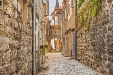 Street of the old city of Perast in Kotor Bay, Montenegro. The old part of the city is a UNESCO...