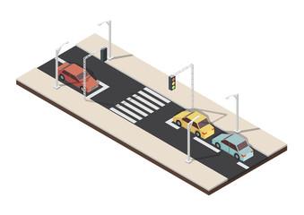 Isometric crosswalk whith traffic light vector illustration