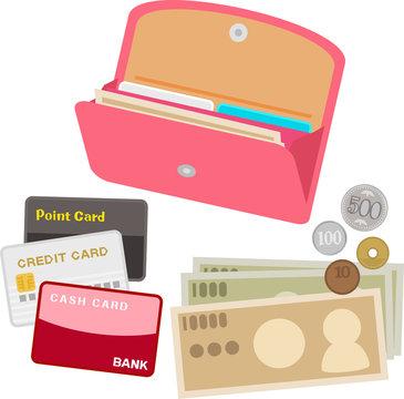 開いた長財布と現金とカード