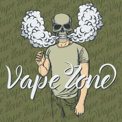 Skull vaping an electronic cigarette