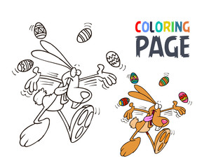 rabbit and egg cartoon coloring page