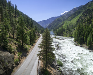 Mountain Highway by Raging River in Wilderness Canyon
