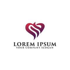 abstract love Logo design concept template