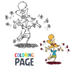 happy woman cartoon coloring page
