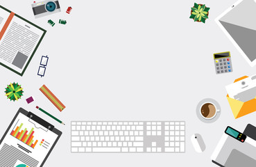 Top view of table working and working desk and free space for text with accessory on the table,notebook, camera, pencil, pen, ruler, calendar, letter, coffee cup, printer, glasses, flowerpot, wallet