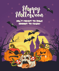 Happy Halloween vector greeting card with spooky Jack-o-lantern
