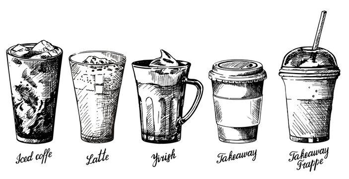 Vector vintage hand drawn coffee types set