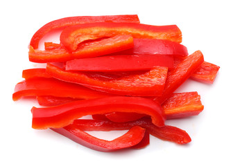 cut slices of red sweet bell pepper isolated on white background