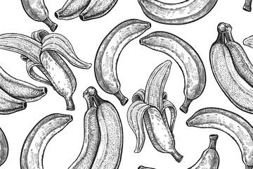 Seamless vector pattern with bananas.