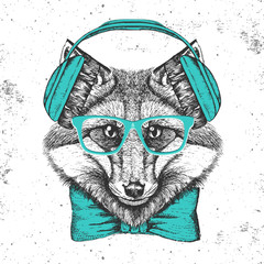 Foto op Canvas Hand getrokken schets van dieren Hipster animal fox. Hand drawing Muzzle of animal fox