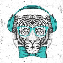 Hipster animal tiger. Hand drawing Muzzle of tiger
