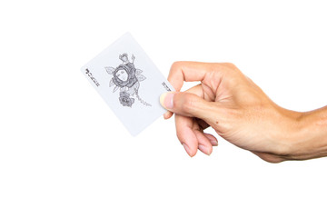 Hand holding front of joker game card isolated on white background. Clipping path.