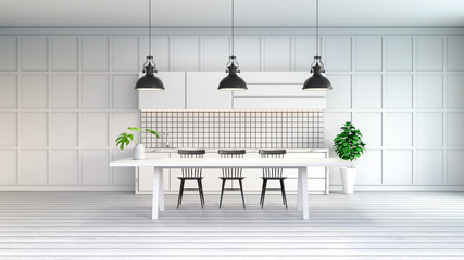 Mimimallist white kitchen room , white tabel with black chair and black lamp on white floor,3d render