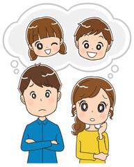 子供のことを考える夫婦のイラスト