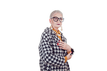 Stylish and elegant old woman in glasses isoladed on white.