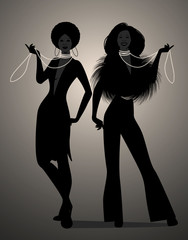 Silhouettes of two girls dancing soul, funky or disco music style