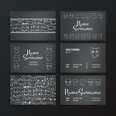 Set of card templates with cute cartoon cats and dogs with different emotions.
