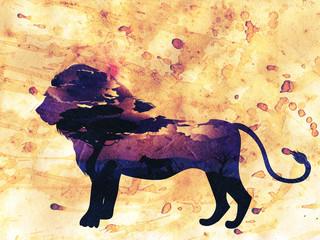 Deurstickers Aquarel Gezicht African Night with Lion Grunge