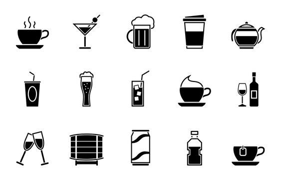 Getränke Iconset - Schwarz