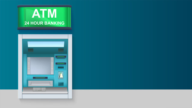 ATM - Automated teller machine with green lightbox, 24 hour banking. Template with ATM terminal for advertisement on horizontal long backdrop, 3D illustration.