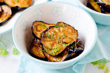 Fried eggplants in a soy sauce frosting