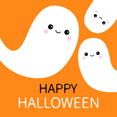Three flying ghost spirit set. Happy Halloween. Scary white ghosts family. Cute cartoon spooky character. Smiling face. Orange background. Greeting card Isolated. Flat design.