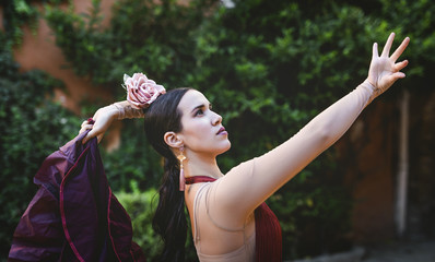 flamenco dancer in the streets of sevilla