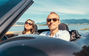 Couple in love have romantic auto travel