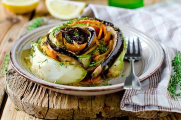 Baked vegetables: eggplant, pumpkin, zucchini