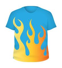 Fire Design on T-Shirt Vector