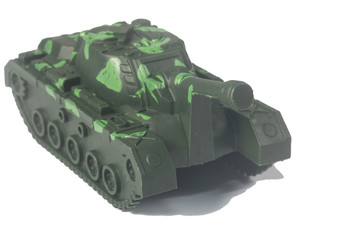 Plastic tank toys isolated on white background