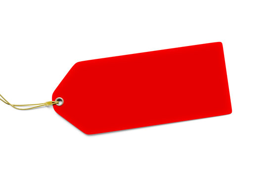 a typical red price tag isolated on white background