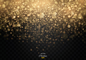Vector glamour fashion illustration. Gold glittering star dust trail sparkling particles on transparent background. EPS10