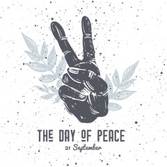 International Peace Day postcard, with hand gesture and floral composition