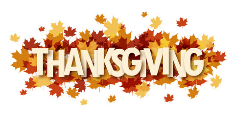 THANKSGIVING banner with autumn leaves