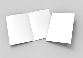 A3 half-fold brochure blank white template for mock up and presentation design. 3d illustration. Wall mural