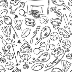 Seamless pattern background Sports Equipment kids hand drawing set illustration isolated on white background