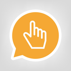 Gelbe Sprechblase - Zeigefinger